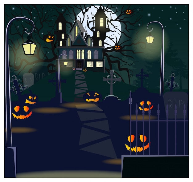 Road to haunted house with lanterns and pumpkins