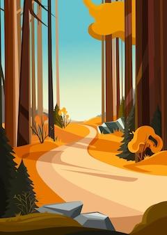 가 숲에서도. 수직 방향의 자연 풍경입니다.