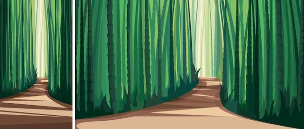 竹林の道。垂直方向と水平方向の自然の風景。