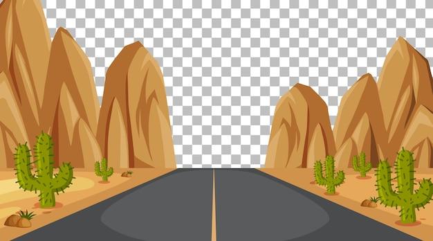 透明な背景の砂漠のシーンの道路