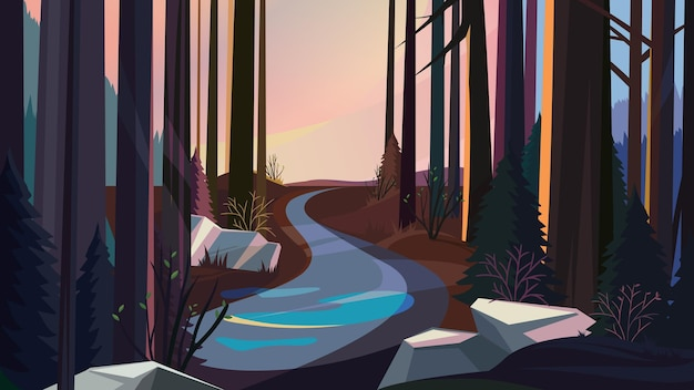 日没時の春の森の道。美しい自然の風景。