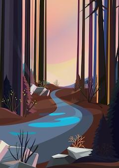 석양 봄 숲 도로