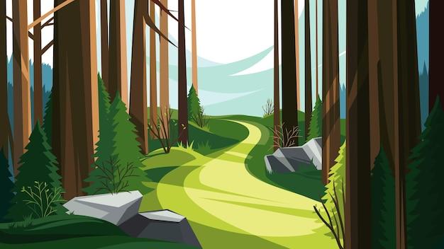 Дорога в весеннем лесу. красивый природный пейзаж.
