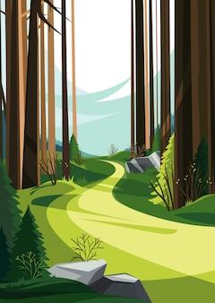 春の森の道。垂直方向の春の風景。 Premiumベクター