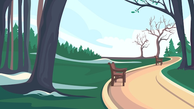 春の公園の自然風景の中の道