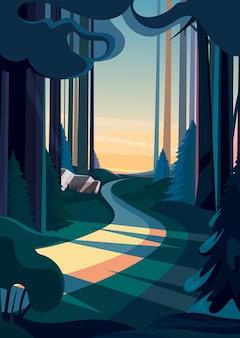 日没時の夏の森の道。垂直方向の自然景観。