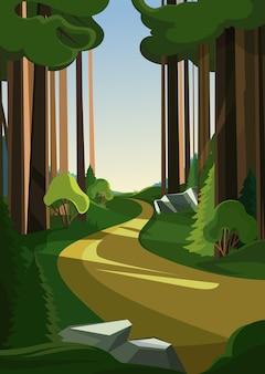 夏の森の道。縦向きの自然の風景。