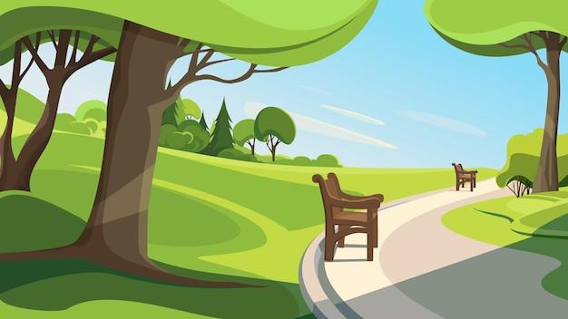 夏の公園の道。美しい自然の風景。