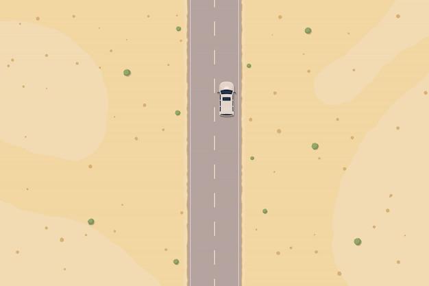 砂漠のトップビューの道