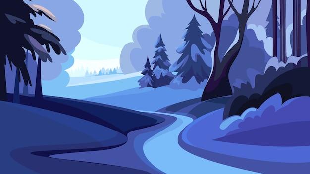 Дорога в зимнем лесу на закате. красивый природный пейзаж.
