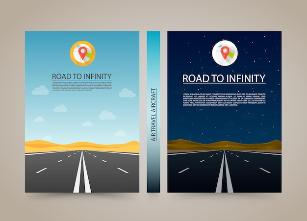 Road to infinity cover, night and day highway banner, a4 size paper, vector illustration