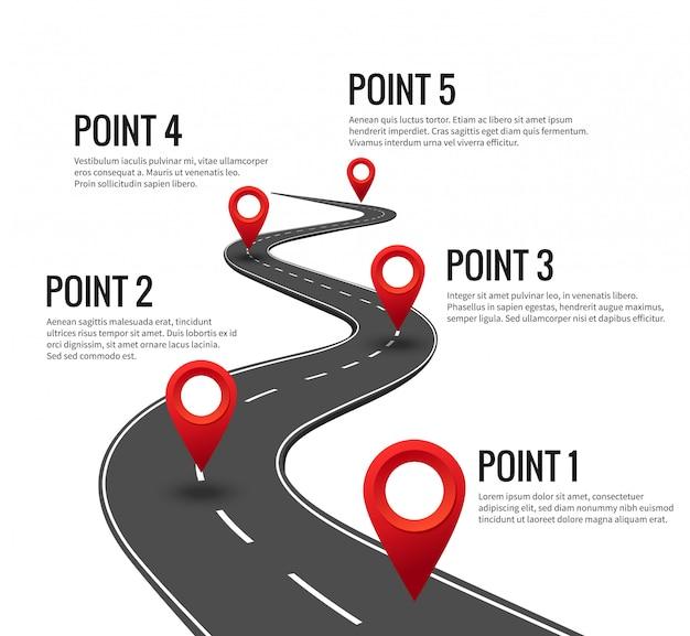 道路のインフォグラフィック。赤いピンのチェックポイントを持つ曲線道路のタイムライン。マイルストーンコンセプトの戦略旅路