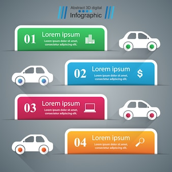 道路インフォグラフィックデザインテンプレートとマーケティングアイコン。車のアイコン。