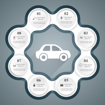 Дорожный шаблон инфографического дизайна и значки маркетинга. значок автомобиля.