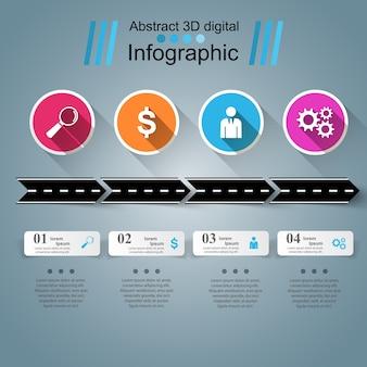 Дорожный шаблон инфографического дизайна и значки маркетинга.