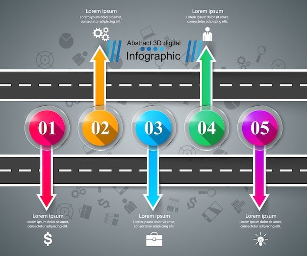 Road infographic design template and marketing icons