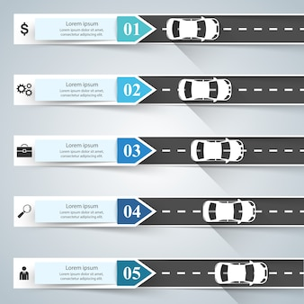 Road infographic template and marketing icons. car icon.