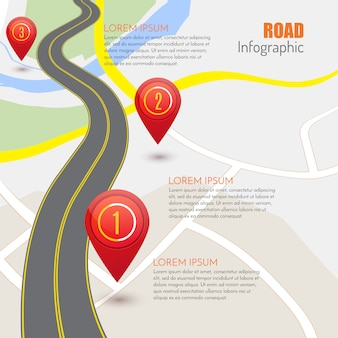 Road infographic with red pointers,