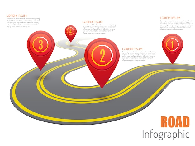 Road infographic with red pointers