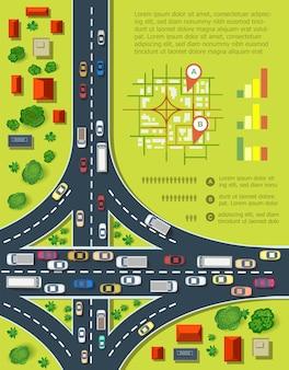 자동차가 많은 고속도로가 있는 도로 인포그래픽. 교통 혼잡 및 도시 교통의 지도입니다. 집과 고속도로가 있는 도시의 최고 전망. 프리미엄 벡터