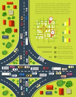 Road infographics with highways with lots of cars