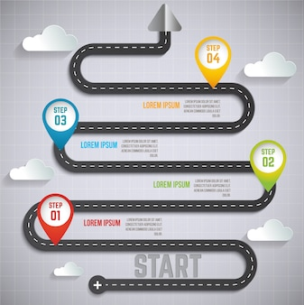 Road information and timeline infographic design.