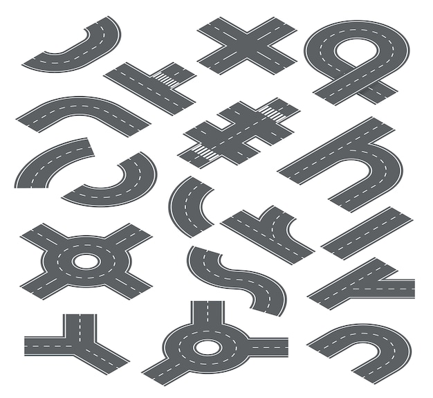 Road isometric elements. traffic streets, auto roads and highway for city map navigation. speedway, crossroad and footpath set. illustration road highway, traffic part speedway and segments