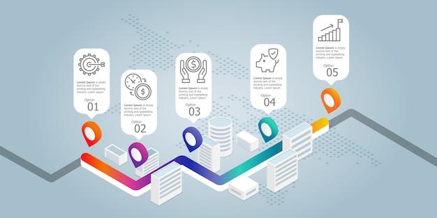 Шаблон элемента презентации изометрической инфографики дороги с бизнес-значками 5 вариантов вектора иллюстрации фона