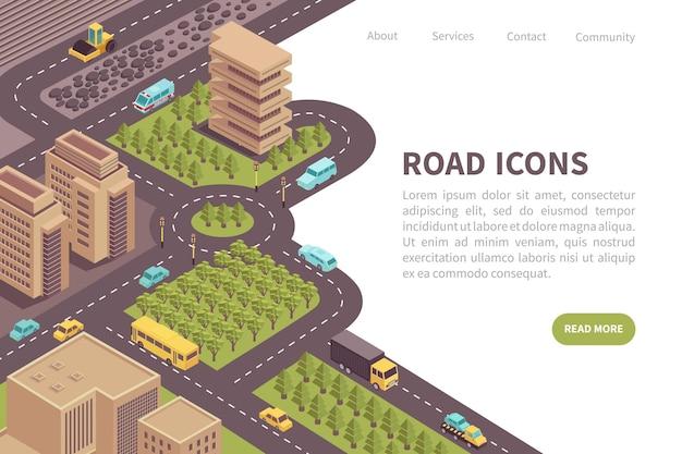 編集可能なテキストを含む道路アイソメトリックランディングページのwebサイトのデザイン続きを読むボタンとリンク