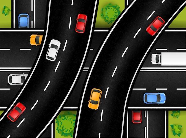 Композиция с видом сверху на транспортную развязку с пейзажами и подъездом к автомагистрали с эстакадами и красочными автомобилями