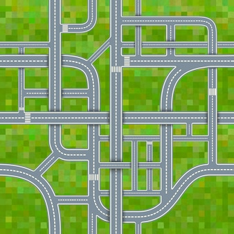 Road junctions on grass background, seamless pattern