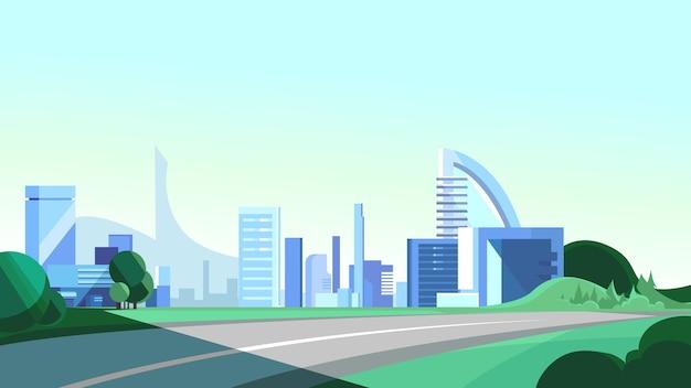 도시로 이어지는 도로. 아름다운 도시 현장.