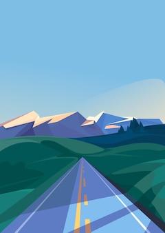 산으로 이어지는 도로. 수직 방향의 야외 장면.