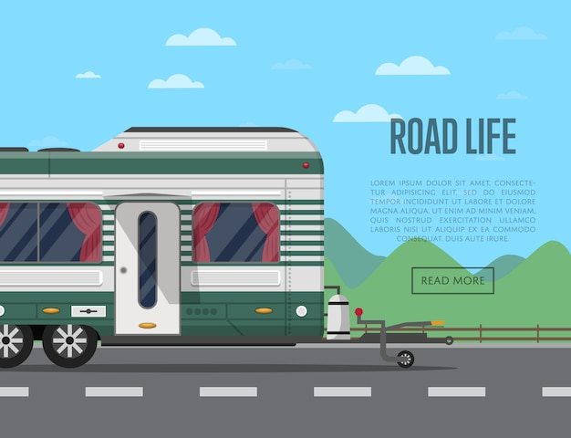 Road life flyer with camping trailer