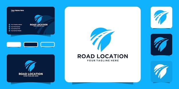 Вдохновение для дизайна логотипа местоположения дороги, местоположение схемы и визитная карточка