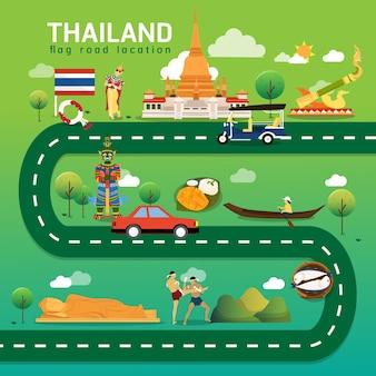 태국의 로드맵 및 여행 경로