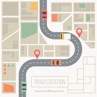 Road map background in desaturated colors