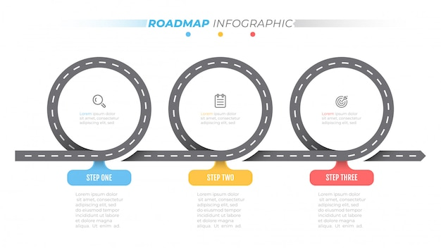 Road map infographic template. timeline with 3 steps, options. business concept design label and icons.