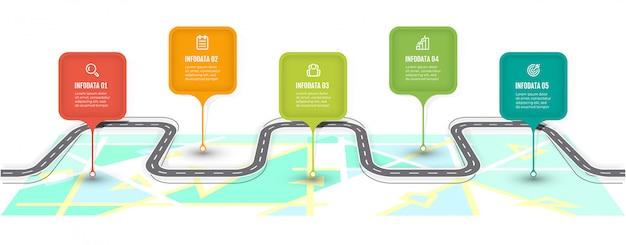 Дорожная карта инфографики шаблон. временная шкала с 5 шагов, варианты. бизнес концепции дизайна этикетки и значки.