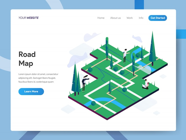 Road map isometric illustration for website page