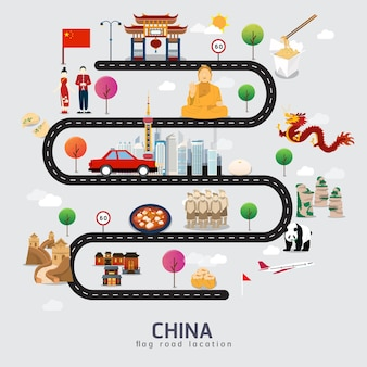 Road map and journey route in china