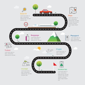 Road map and journey route timeline infographics