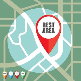 Дорожная карта с красочным контактным указателем на важную общественную зону