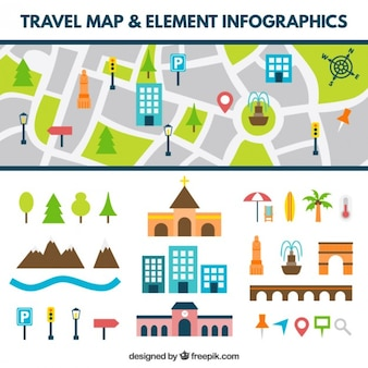 Road map with flat elements