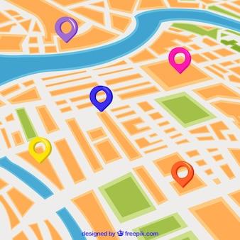 Mappa stradale con puntatori in stile piatto