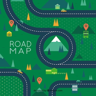 Road map with pointers in flat style