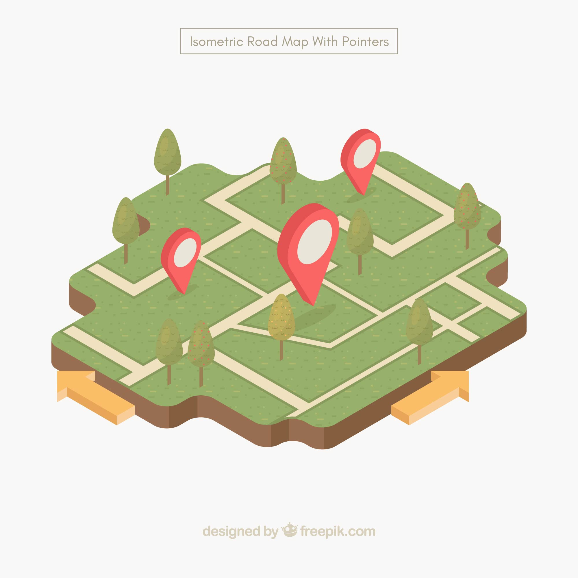 Road map with pointers in isometric style
