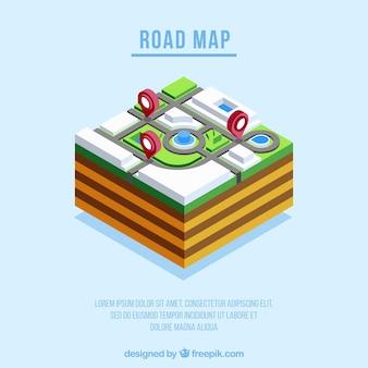 Mappa stradale con puntatori in stile isometrico