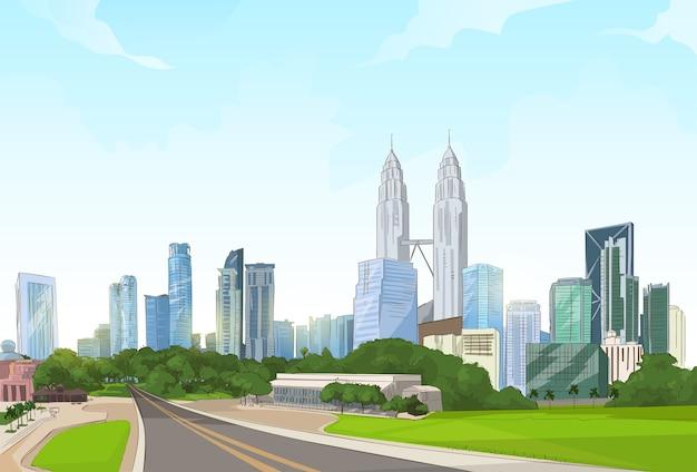 Road to modern city view skyscraper cityscape background
