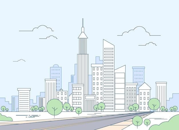 Road to modern city view skyscraper cityscape